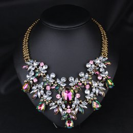 Wholesale Colorful Necklaces Crystals - Wholesale-Colorful Crystal Necklace Fashion Statement Necklace&Choker Necklace Wholesale,High Quality Flowers Necklace Chunky Jewelry
