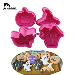 Wholesale Hat Mould - Wholesale- 4pcs set Biscuit Mold Halloween House Ghost Pumpkin Hat Cookies Cutter Pressing Mould Cake Decorating Tools