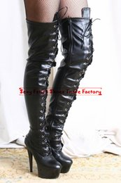 Wholesale Ladies Leather Thigh High Boots - Thigh high boots 15cm 6 '' heel with 5cm platform lady boots PU Matt leather lace up over the knee men's ultra high heels sexy crotch boots
