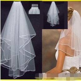 "Wholesale Ivory Wedding Veils For Sale - 2016 hot sale Cheap Real Image In Stock 1 Layer White Ivory 1 5"" Satin Edge Comb Veils For Wedding Dresses Party Gowns Bridal Accessories"