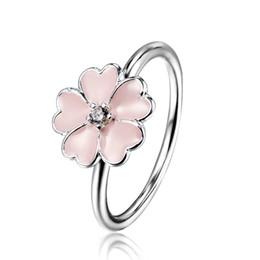 Wholesale Enamel European Ring - 925 Sterling Silver Rings Primrose Cubic Zirconia Enamel European Elegant Fashion Jewelry For Pandora Women Ring Size 6 Party Birthday Gift