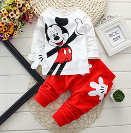 Wholesale Cartoons Clothing Set - Fashion baby Cartoon clothing Suits Girls boys Minnie Mouse clothes baby 100% cotton shirts+pants 2pcs Children Clothing Set