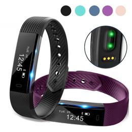 Wholesale Alarm X - ID115 HR Smart BraceletTiantian app Fitness Heart Rate Tracker Step Alarm Clock Vibration Wristband for iphone 8 X samsung