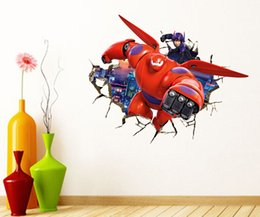 Wholesale Hero Wall Poster - Big Hero 6 Wall Sticker Cartoon Character Removable Poster Boys Decorative Wall Decals Child Room Decor free shipping in stock