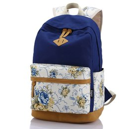 Wholesale Designer Bags Flower Print - Designer Brand Genuine Quality Floral Leather Canvas Bag Backpacks School for Teenager Girl Laptop Bag Printing Backpack Women Backpack.