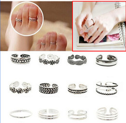 Wholesale Ladies Jewelry Rings - Women Lady Unique Adjustable Opening Finger Ring Fashion Simple Sliver Plated Retro Carved Flower Toe Ring Foot Beach Jewelry [GE08004*12]
