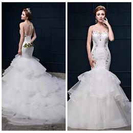 Wholesale Best Slimming Dresses - Best Sale Sheer Scoop Trumpet Mermaid Lace Slim Bridal Gowns Bandage Back Chapel Train Scoop Beading Crystal 2018 Wedding Dresses