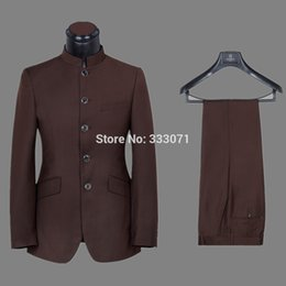 Wholesale Morning Dress Men - Wholesale-tailor Made Groom Tuxedos Stand Collar Red Brown Classical Men's Wedding Prom Suits Groomsman Morning Dress Jacket +Pants