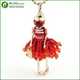 Wholesale Trendy Dresses For Girls - French Doll Necklace Pendant Fashion Necklaces For women 2015 New Acrylic Alloy Cute Girl Dress Trendy Accessories BC-0028