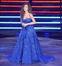 robe de célébrité train de balai sexy sweetheart Promotion Popular Blue Myriam Fares Elie Saab A Line Robes de soirée avec sweetheart Neckline sans manches Appliques Sweep Train Arab Celebrity Gowns