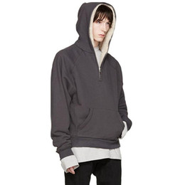 Capuz preto de capuz oversized on-line-Medo De Deus Inverno Hoodie Homens Cashmere Capuz Half-Zip Jacket Preto Cinza Com Capuz Casuais Hip Hop Hoodies Oversized Streetwear YYG1013