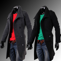 Wholesale Winter Trenchcoat - Wholesale- In The Autumn And Winter Men's Badges Long Double Breasted Trench Coat Men Windbreaker. Hot Sale Trenchcoat Casual Fashion