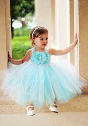 Wholesale Toddler Aqua Dresses - Aqua Lovely Flower Girl's Dresses For Wedding Event A Line Ankle Length Kids communion dress hand Made Flower pageant Gown for little Girls