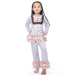 Wholesale Wholesale School Girl Outfits - wholesale clothing Floral Long Sleeve bib Top pants outfit ,toddler girls ,back to school striped ruffle pants