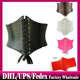 Wholesale Wide Brown Waist Belts - 100pcs Women's Girl's Beautiful Stretchy Wide Faux Leather Corset Waist Belt free DHL shipping