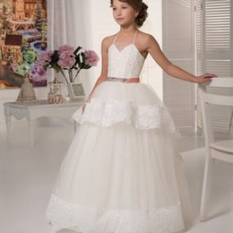 Wholesale Discount Bows Ribbons - Floor Length Ball Gown Beautiful Girls Pageant Dresses Halter Appliques Sashes First Communion 2016 Discount Flower Girl Dresses