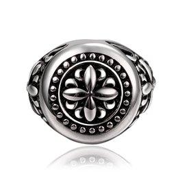 Wholesale Stainless Ring Fleur Lis - Stainless Steel Ring Cross Fleur De Lis Band Vintage Classic Gothic Punk Biker Silver Black US Size#7-9