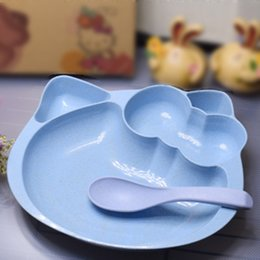 Wholesale Kt Tools - Wheat straw Children Bowl Plate cartoon kt Cat bowl sub plate children tableware gift two sets kitchen tools