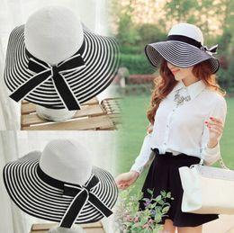 Wholesale Ladies Sun Hats Travel - Vintage Women Lady Travel Straw Sun Hat Bow Floppy Wide Brim Beach Cap Summer Black Stripe
