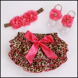 Wholesale Toddler Leopard Sandals - Wholesale-Baby Girl Leopard Shorts Flower Headbands Sandal Barefoot Set,Baby Animal Pants,Infantil Shorts Bebe,Toddler Bloomers,#3T0197