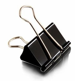 Wholesale Wholesale 15 Supplies - 40 pieces Lot Black Metal Binder Clips 15 19 25 32 41 51mm Notes Letter Paper Clip Office Supplies Binding Securing Clip Papelaria