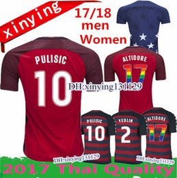 Wholesale Gold Women Shirts - men And women USA size 2017 2018 PULISIC United States Gold Cup Red Soccer Jersey 17 18 DEMPSEY BRADLEY ALTIDORE WOOD Footbll Shirts