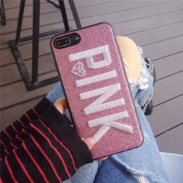 Wholesale Iphone Covers Sale - For iphone 8 case Pink letter Fashion Design Glitter cases 3D Embroidery Love Pink bling COVER CASE For iPhone X 8 7 6s plus sale