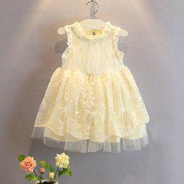 Wholesale Western Cotton Dresses - Girls high end lace dress Kids girls summer pearl collar lace dress veil princess dress Western style dress C001