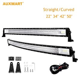 "Wholesale Truck Roof Driving Work Lights - Auxmart LED Light Bar 22"" 34"" 42"" 50"" Straight Curved Work Light Fit 4x4 Truck ATV RZR Trailer Car Roof Offroad Driving Light"