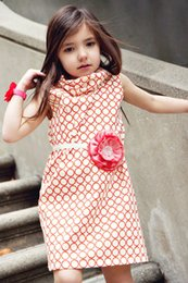 Wholesale Children S Summer Dresses - 2016 Big Kids Girls Polka Dots Dresses Baby Girl Summer Cotton High Collar Fashion Dress Children' s Clothing Babies Clothes Kids Dress