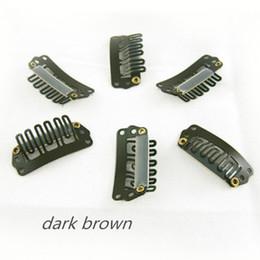 Clip marrone parrucche online-Clip di colore marrone scuro clip di capelli 3,2 centimetri a scatto a scatto per le estensioni dei capelli parrucche di trama accessori per capelli 32mm 4 colori disponibili, 100pcs / lot