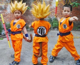 Wholesale Goku Wigs - Anime Dragon Ball Son Goku Cosplay Costume Dragon Ball Z Cosplay Clothes for children sun wukong costume turtle clothing with wig in stock