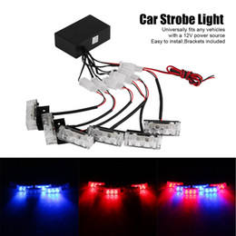 Wholesale Led Ems Strobe - 6x3 LED Universal Car Warning Strobe Flash Warning EMS Police Light Firemen Emergency Light Lamp 3 Modes Red and Blue Lighting free shipping