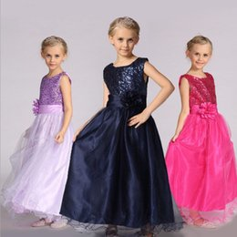 Wholesale Wholesale Wedding Prom Dresses - Wholesale Baby girls ball gown children prom paillette flower dresses kids lace skirts 11 colors girl's boutiques dress Wedding dress hot sa