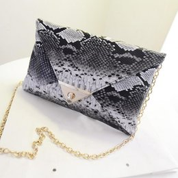 Wholesale Envelope Bag Leather Men - Wholesale-2016 Brand New Women\'s Synthetic Leather Snake Skin Envelope Bag Day Clutches Purse Evening Bag