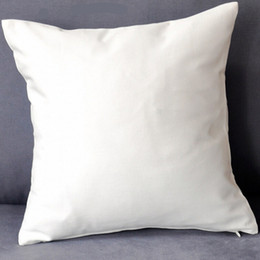 Wholesale Cushion Diy - (100pcs lot)plain white color pure cotton twill cushion cover with hidden zip for custom DIY print blank cotton pillow cover any color