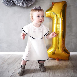 Wholesale Wool Baby Dress - Ins Baby Dresses Girls Knit Cotton Dress Sweater Wool Dress Long Sleeve Princess Dress Kids Party Christmas Boutique Clothes A7754