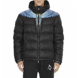 Wholesale Jacket Black Wings - 17FW MARCELO BURLON Black Down Jacket Wing Printed Men Women Down Jacket Warm Coat Fashion Down Outerwear HFLSYRF017