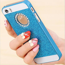 Wholesale Iphone 4s Logo Cases - 2016 Bling Logo Window Luxury phone case for Apple iPhone 6S Plus 4S 5S Shinning glitter powder back cover Fashion Sparkling Diamond case