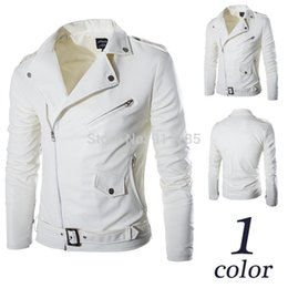 Wholesale Fitted Leather Jackets - Autumn Epaulette design white PU leather jackets coat men casual slim fit oblique Zipper washing motorcycle leather jackets