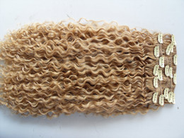 Wholesale Extension Curly Blonde - new brazilian curly hair weft clip in natural kinky curl weaves unprocessed blonde human extensions chinese hair