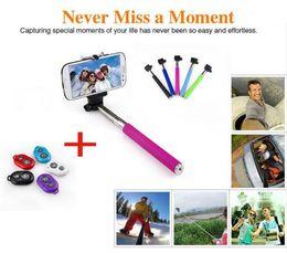 Wholesale Remote Controller Holder - Extendable Selfie Monopod Selfie Stick Handheld Monopod+Clip Holder+Bluetooth Camera Shutter Remote Controller for iPhone Samsung