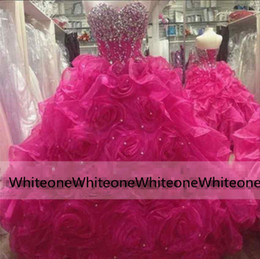 Wholesale Girls Organza Wraps - 2016 Sweet 16 Quinceanera Dresses Ball Gown Sweetheart Beaded Crystals Cascading Ruffles Organza Fuchsia Girl Pageant Prom Dresses Custom
