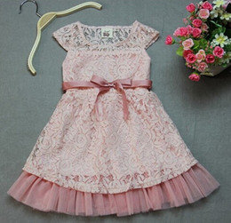 Wholesale Cheap Tutu Tops - 10pcs DHL 2014 Fashion Designer Girls Dresses Pink Lace Top With Gauze Hem And Belt Children Summer Casual Clothing Cheap KR03