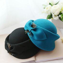 Wholesale Black Berets Wool - Elegant Ladies Bow Fedora Hat 2018 New Fashion Autumn Winter Wool Beret Hat For WOmen Woolen Pillbox Stewardess Hats