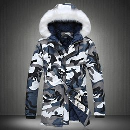 Wholesale Military Parka Fur Hood - Fall-Fashion camouflage parka men military medium-long Men's Clothing thickening cotton-padded winter jacket men with fur a hood