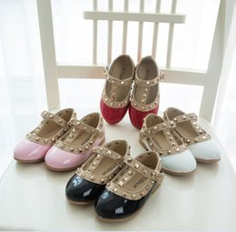 Wholesale Pink Tape - Hotsale! Spring Girls Leather Shoes Autumn Child Girl PU Glitter Rivet Princess Magic Tape Soft Sole Flats White Black Pink Red 21-36 K3294