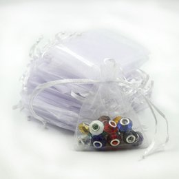Wholesale Organza Gift Bags Cheap - 7x9cm White Organza Jewelry Popular Gift Bags Cheap Wedding Gift Bag Tulle Favor Sack Customed Logo Printed 100pcs lot Wholesale