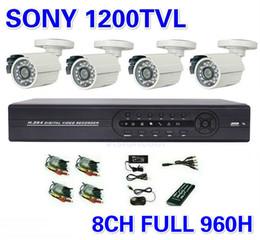 Wholesale Dvr Camera Kits - Security Sony 1200TVL Surveillance CCTV System 8ch 960h Full D1 DVR IR Cameras Surveillance System IR Cut Filter 8ch DVR Kit