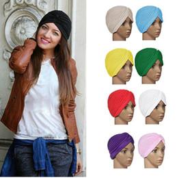 Bandana indien en Ligne-2015 vente chaude Stretchy Turban Head Wrap Bande Chapeau De Sommeil Chemo Bandana Hijab Plissée Indian Cap 9 Couleurs Prix Usine 10pcs / lot